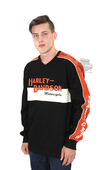 ** SIZE SMALL & LARGE ONLY ** Harley-Davidson® *GMAR* Mens Prestige Orange Stripe Colorblock Long Sleeve Shirt *CYB*