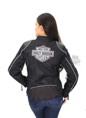 Harley-Davidson® Womens Reflective B&S Triple Vent System™ Waterproof Textile Black Functional Jacket