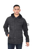 Harley-Davidson® Mens Black Label Crawford Wax Coated with Hood Cargo Grey Casual Jacket