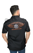 Harley-Davidson® Mens Burning Willie G Skull Flames Black Short Sleeve Woven Shirt
