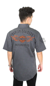 Harley-Davidson® Mens Flames B&S Enzyme Stone Wash Grey Short Sleeve Woven Shirt
