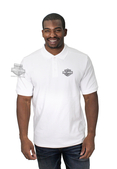 Harley-Davidson® Mens Embroidered B&S Logo Knit White Short Sleeve Polo