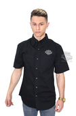 Harley-Davidson® Mens Embroidered B&S Logo Black Short Sleeve Woven Shirt