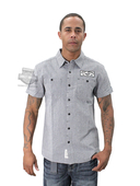 Harley-Davidson® Mens Black Label Micro-Stripe Enzyme Wash Stripe Short Sleeve Woven Slim Fit Shirt
