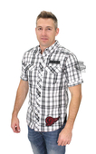 ** SIZE SMALL ONLY ** Harley-Davidson® Slim Fit Mens Black Label #1 Skull White Plaid Short Sleeve Woven Shirt