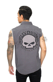 Harley-Davidson® Mens Willie G Skull Embroidered Grey Sleeveless Blowout
