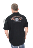 Harley-Davidson® Mens Burning Willie G Skull Flames Washed Black Short Sleeve Polo *48HR*