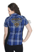 Harley-Davidson® Womens 115th Anniversary with Contrast Side Panels Navy Short Sleeve Woven Shirt