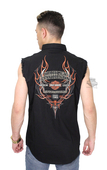 Harley-Davidson® Mens Pinstripe Flames with B&S Black Sleeveless Blowout