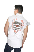 Harley-Davidson® Mens Pinstripe Flames with B&S White Sleeveless Blowout