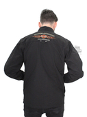** SIZE LARGE ONLY ** Harley-Davidson® Mens Pinstripe Flames with B&S Black Long Sleeve Shirt Jacket