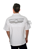 Harley-Davidson® *GMAR* Mens Performance Skull Garage White Cotton Blend Short Sleeve Woven Shirt *2DY*