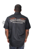 Harley-Davidson® *GMAR* Mens Performance Flames Black Cotton Blend Short Sleeve Woven Shirt *2DY*