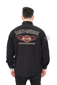 ** LARGE & 2X ONLY ** Harley-Davidson® Mens B&S Flames Embroidered Black Long Sleeve Shirt Jacket