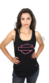 Harley-Davidson® Womens Pink Label B&S Logo Black Sleeveless Tank