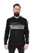 ** SIZE SMALL ONLY ** Harley-Davidson® *GMAR* Mens Prestige Grey Stripe Colorblock Long Sleeve Shirt *2DY*