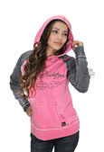 Harley-Davidson® Womens Pink Label Leopard Accent Burnout Pullover Pink Long Sleeve Hoodie