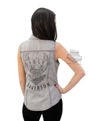 ** SMALL SIZES ONLY ** Harley-Davidson® Womens Eagle B&S Snap Front Contrast Stitch Grey Sleeveless Woven Shirt
