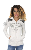 Harley-Davidson® Womens Lace Accent Winged B&S Full Zip Off White Long Sleeve Hoodie