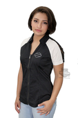 ** SIZE 2X ONLY ** Harley-Davidson® Womens Lace Accent Winged B&S Zip Front Black Short Sleeve Woven Shirt *36HR*