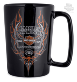 Harley-Davidson® Mens Pinstripe Flames B&S 16 oz Ceramic Black Mug