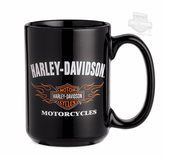 Harley-Davidson® Mens B&S Logo with Flames 15 oz Ceramic Black Mug