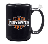 Harley-Davidson® Mens Trademark B&S Logo 15 oz Ceramic Black Mug