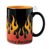 Harley-Davidson® Mens Sculpted Flame 15 oz Ceramic Black Mug