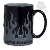 Harley-Davidson® Mens Sculpted Tonal Flame 16 oz Ceramic Grey Mug