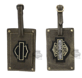 Harley-Davidson® Mens Belted 2PC Brown Leather Luggage Tag Set