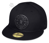 Harley-Davidson® Mens Hell On Wheels #1 Skull 59FIFTY® by New Era 5950 Black Cotton Fitted Baseball Cap