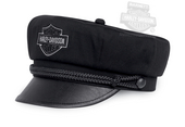 Harley-Davidson® Mens Embroidered B&S with Faux Leather Bill Black Cotton Biker Cap