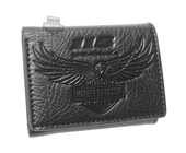Harley-Davidson® Mens 115th Anniversary Eagle Black Leather Trifold Wallet