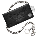 Harley-Davidson® Mens 115th Anniversary Eagle Biker Black Leather Wallet