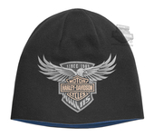 Harley-Davidson® Mens 115th Anniversary Eagle Reversible Black Acrylic Blend Knit Cap