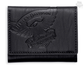 Harley-Davidson® Mens Eagle with Trademark B&S Black Leather Trifold Wallet