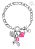 Harley-Davidson® Womens Pink Label Charm with Rhinestones Bracelet