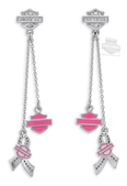 Harley-Davidson® Womens Pink Label Charm with Rhinestones Drop Earrings