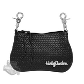Harley-Davidson® Womens HD Script Medallion Basket Weave with Strap Black Leather Clip Pouch