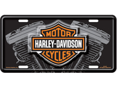 Harley-Davidson® Black Front License Plate B&S with V-Twin - Stamped Metal