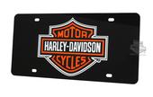 Harley-Davidson® Black Front License Plate Acrylic Black with Orange B&S