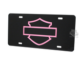 Harley-Davidson® Front License Plate Acrylic Black with Pink Open B&S