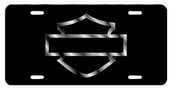 Harley-Davidson® Black Front License Plate Acrylic Black with Silver Open B&S