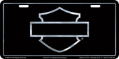 Harley-Davidson® Black Front License Plate Black with Silver Open B&S