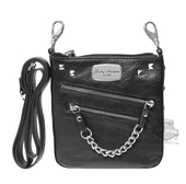 Harley-Davidson® Womens Chain Gang Deluxe Black Leather Clip Bag
