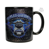 Harley-Davidson® Mens Police Original Diamond Plate Ceramic 11 oz. Black Mug
