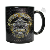 Harley-Davidson® Mens Sheriff Original Diamond Plate Ceramic 11 oz. Black Mug