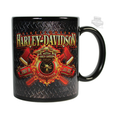 Harley-Davidson® Mens Firefighter Original Diamond Plate Ceramic 11 oz. Black Mug
