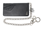 Harley-Davidson® Mens Crunch B&S with #1 Medallion Biker Tall Black Leather Bifold Wallet