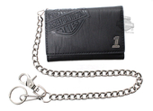 Harley-Davidson® Mens Crunch B&S with #1 Medallion Biker Medium Black Leather Trifold Wallet